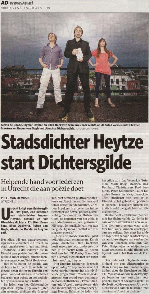 Vandaag in het AD/UN: over het Utrechtse Dichtersgilde