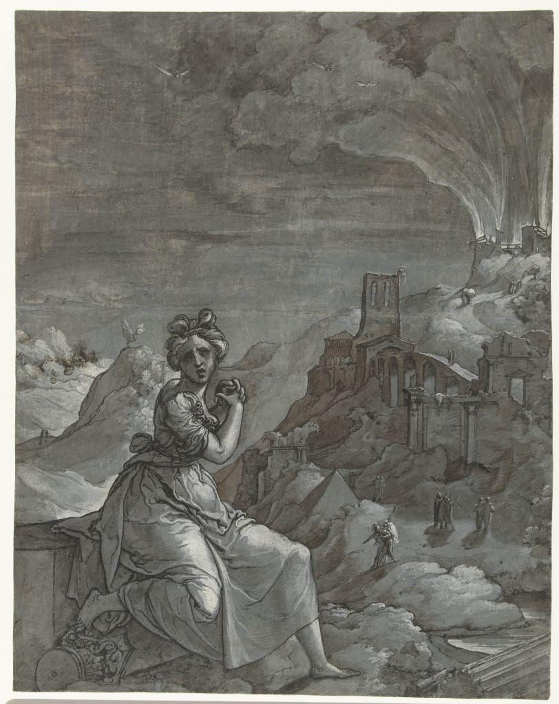 Details tonen Voeg toe aan je verzameling. Rijksstudio Delen Beeld inzoomenBeeld uitzoomen Cassandra treurt over de verwoesting van Troje, Jan Swart van Groningen, 1550 - 1555. Collectie Rijksmuseum.